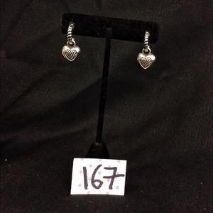 Vintage Brighton Silver Heart Charm Hoop Earrings